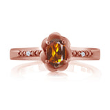 0.42 Ct Orange Red Madeira Citrine White Created Sapphire 18K Rose Gold Plated Silver Ring