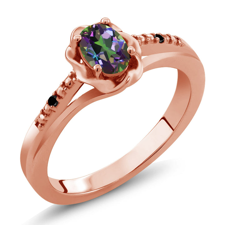 Gem Stone King 0.51 Ct Oval Green Mystic Topaz Black Diamond 18K Rose Gold Plated Silver Ring