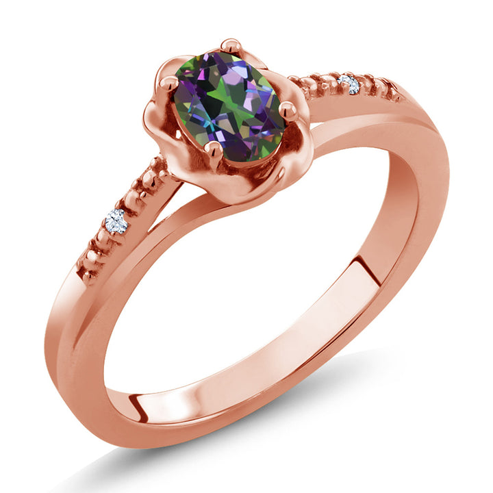 Gem Stone King 0.52 Ct Oval Green Mystic Topaz White Topaz 18K Rose Gold Plated Silver Ring