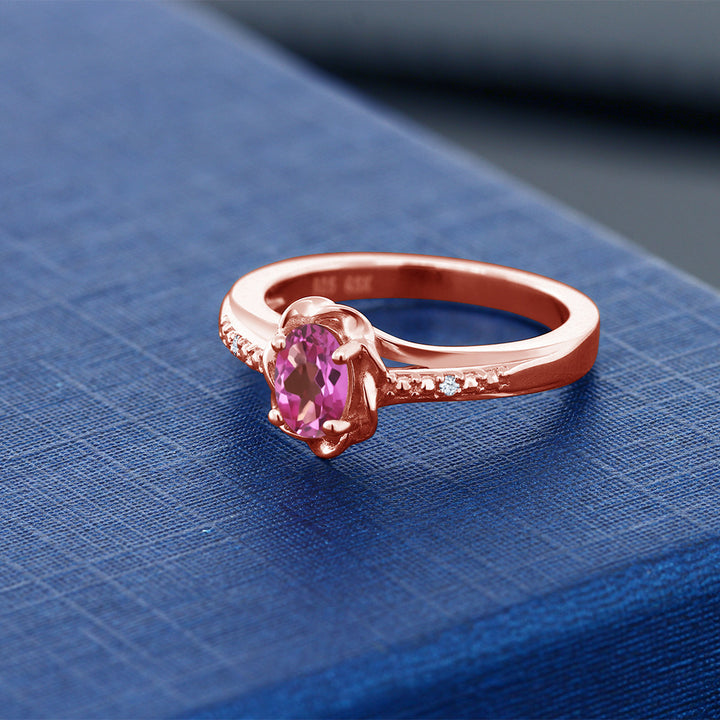 0.52 Ct Oval Pink Mystic Topaz 18K Rose Gold Plated Silver Ring