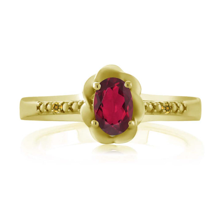 0.52 Ct Red Mystic Topaz Simulated Citrine 18K Yellow Gold Plated Silver Ring