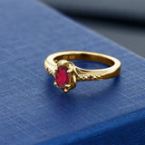 0.52 Ct Oval Red Mystic Topaz Red Garnet 18K Yellow Gold Plated Silver Ring