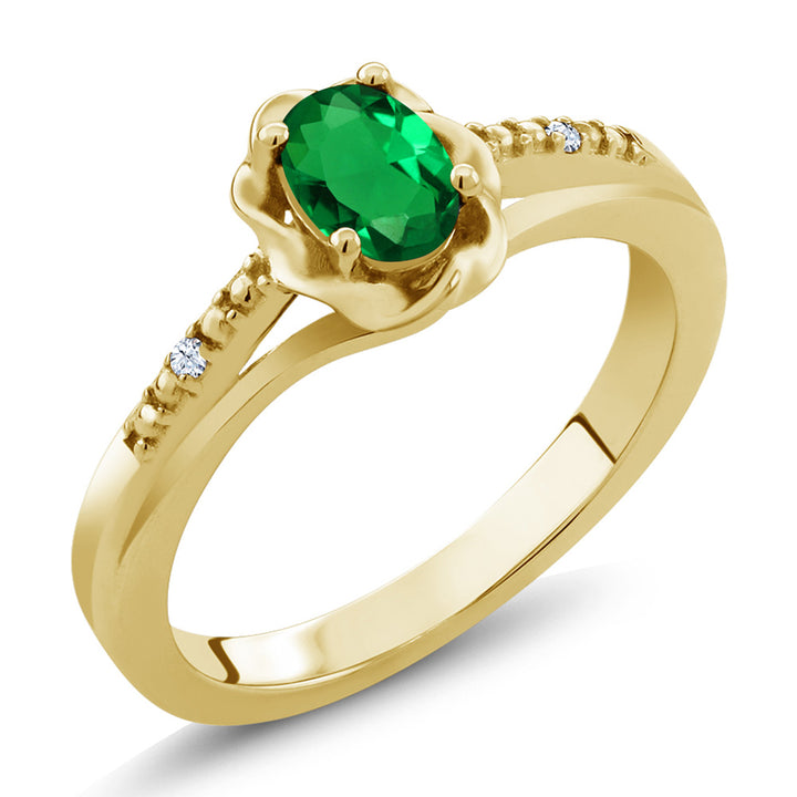 0.42 Ct Green Simulated Emerald White Created Sapphire 18K Yellow Gold Plated Silver Ring