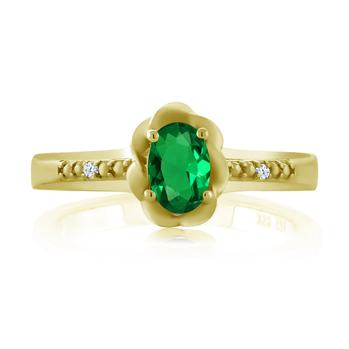 0.42Ct Simulated Emerald and Created Sapphire 18K Yellow Gold Plated Silver Ring