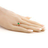 0.42 Ct Oval Green Simulated Emerald 18K Rose Gold Plated Silver Ring