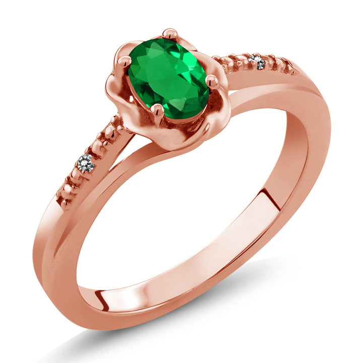 Gem Stone King 0.41 Ct Oval Green Simulated Emerald White Diamond 18K Rose Gold Plated Silver Ring