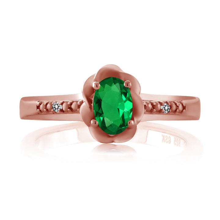 0.41 Ct Oval Simulated Emerald White Diamond 18K Rose Gold Plated Silver Ring