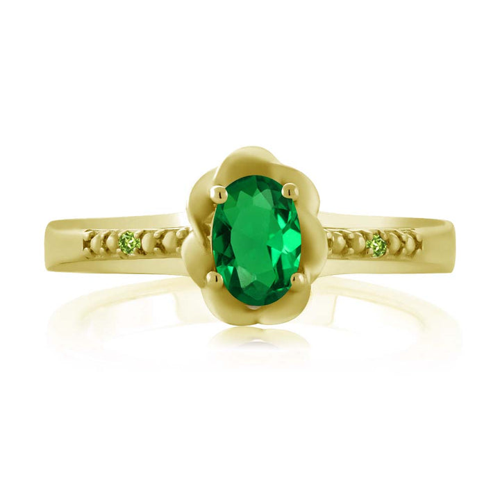 0.41 Ct Simulated Emerald Simulated Peridot 18K Yellow Gold Plated Silver Ring