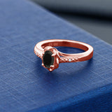 0.41 Ct Oval Black Onyx 18K Rose Gold Plated Silver Ring