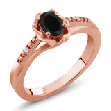 Gem Stone King 0.41 Ct Oval Black Onyx 18K Rose Gold Plated Silver Ring