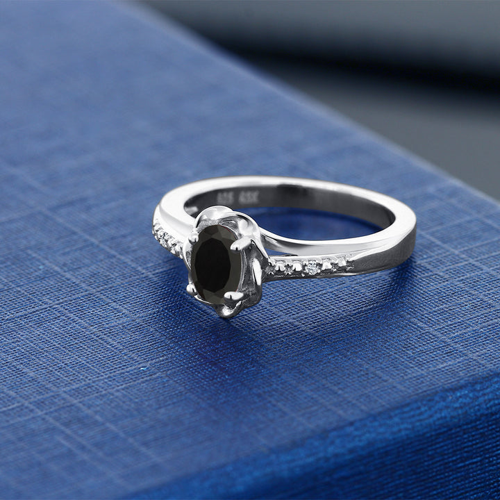 0.41 Ct Oval Black Onyx White Topaz 925 Sterling Silver Ring