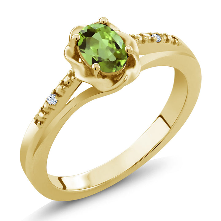 Gem Stone King 0.52 Ct Oval Green Peridot White Topaz 18K Yellow Gold Plated Silver Ring