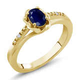 Gem Stone King 0.57 Ct Blue Sapphire White Created Sapphire 18K Yellow Gold Plated Silver Ring