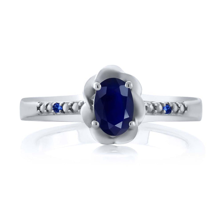 0.57 Ct Oval Blue Sapphire 925 Sterling Silver Ring