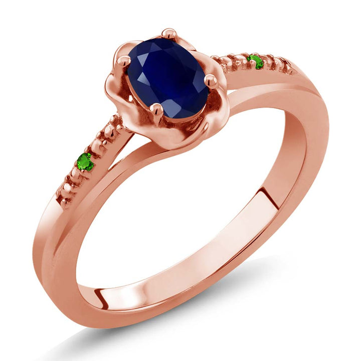 Gem Stone King 0.56 Ct Oval Blue Sapphire Simulated Tsavorite 18K Rose Gold Plated Silver Ring