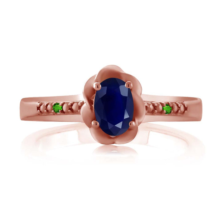 0.56 Ct Oval Blue Sapphire Simulated Tsavorite 18K Rose Gold Plated Silver Ring