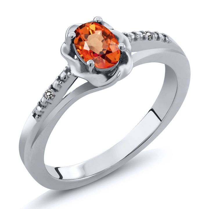 Gem Stone King 0.56 Ct Oval Orange Sapphire White Diamond 925 Sterling Silver Ring