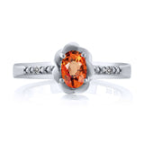 0.56 Ct Oval Orange Sapphire White Diamond 925 Sterling Silver Ring