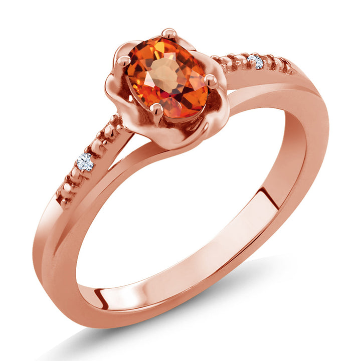 Gem Stone King 0.57 Ct Oval Orange Sapphire White Topaz 18K Rose Gold Plated Silver Ring