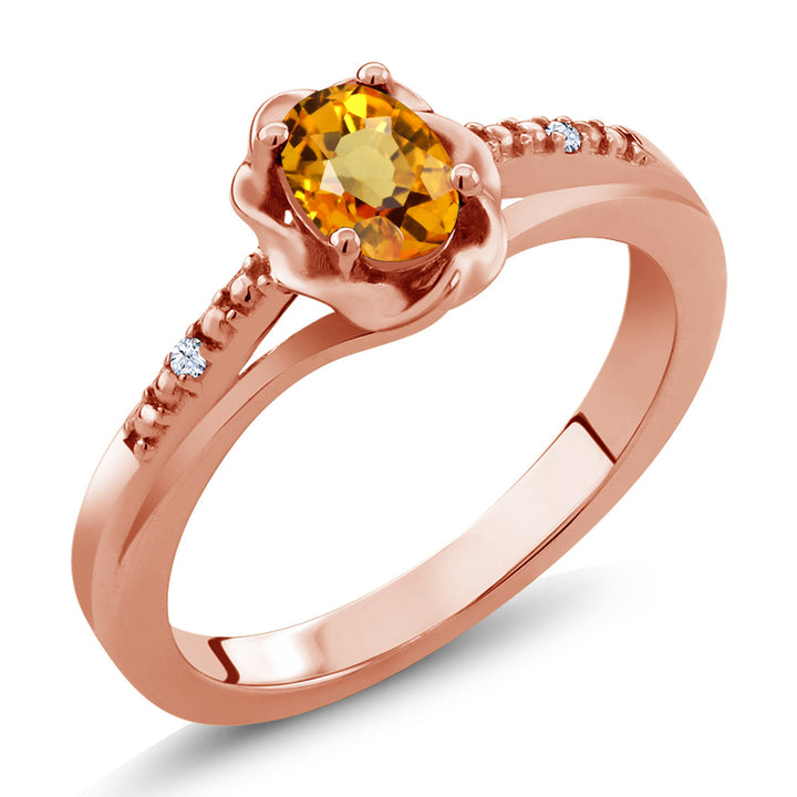 Gem Stone King 0.57 Ct Oval Yellow Sapphire 18K Rose Gold Plated Silver Ring