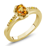 Gem Stone King 0.57 Ct Oval Yellow Sapphire 18K Yellow Gold Plated Silver Ring