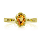 0.57 Ct Oval Yellow Sapphire 18K Yellow Gold Plated Silver Ring