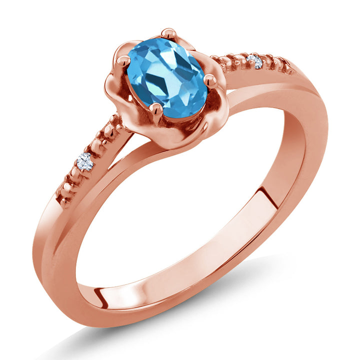 Gem Stone King 0.52 Ct Oval Swiss Blue Topaz 18K Rose Gold Plated Silver Ring