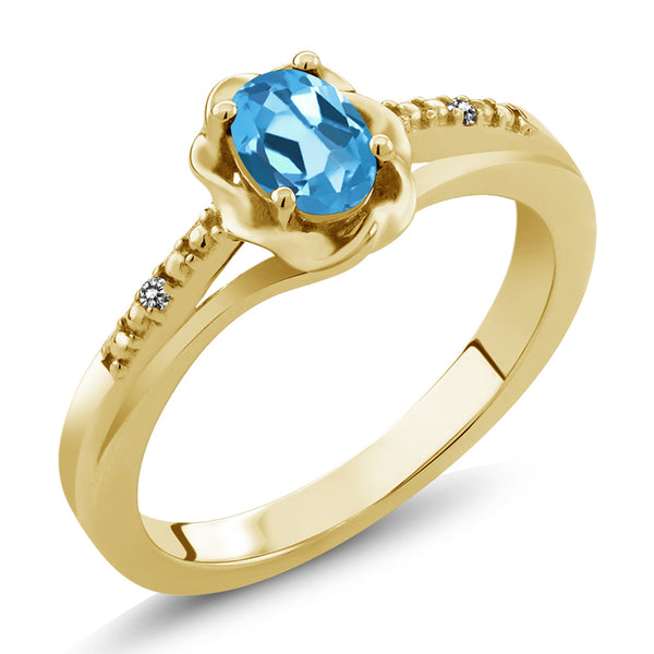 Gem Stone King 0.51 Ct Oval Swiss Blue Topaz White Diamond 18K Yellow Gold Plated Silver Ring