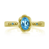 Swiss Blue Topaz & Swiss Blue Simulated Topaz 18K Yellow Gold Plated Silver Ring
