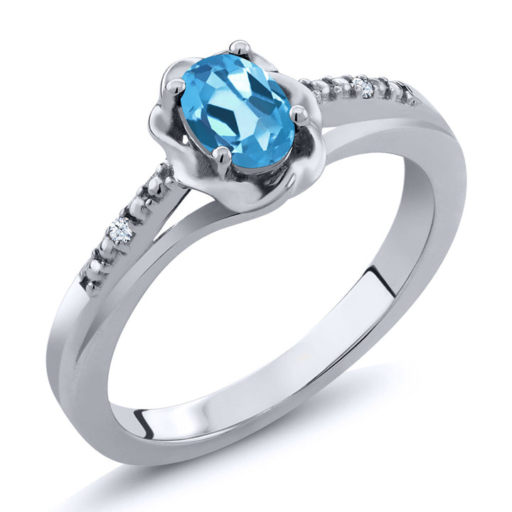 Gem Stone King 0.52 Ct Oval Swiss Blue Topaz White Topaz 925 Sterling Silver Ring