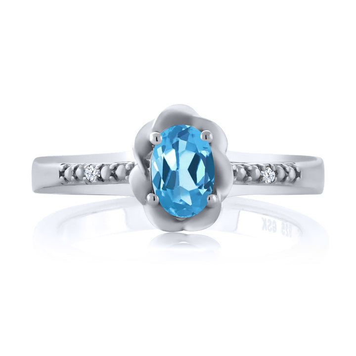 0.52 Ct Oval Swiss Blue Topaz White Topaz 925 Sterling Silver Ring