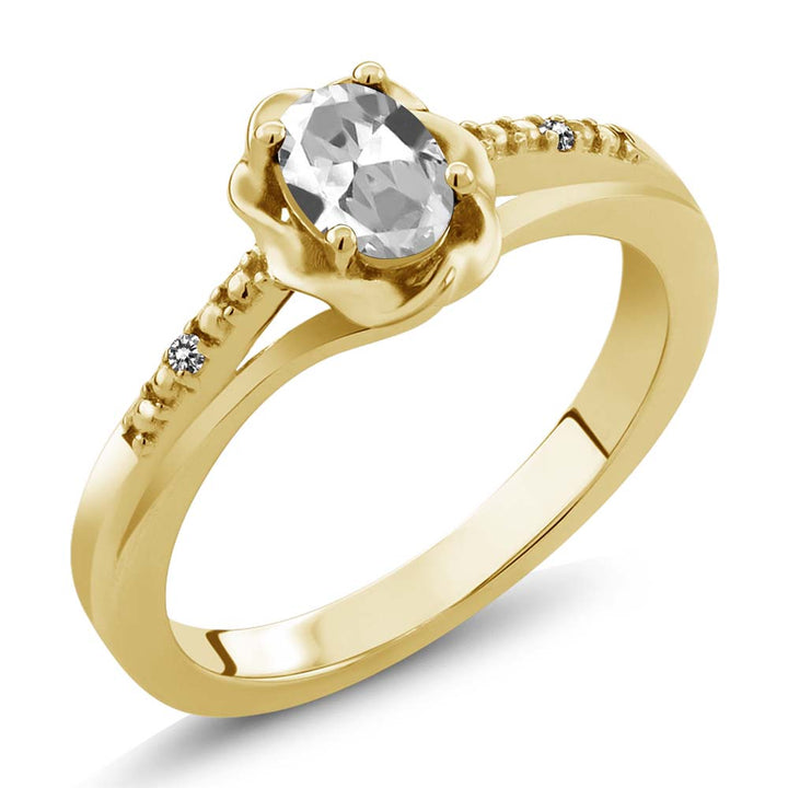 Gem Stone King 0.51 Ct Oval White Topaz White Diamond 18K Yellow Gold Plated Silver Ring