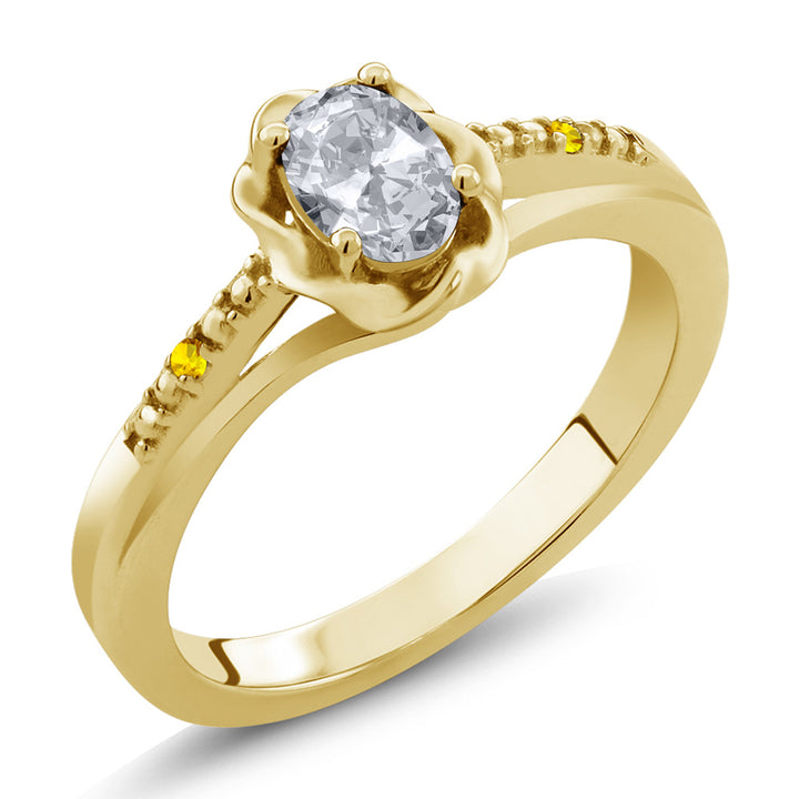 Gem Stone King 0.52 Ct Oval White Topaz Yellow Sapphire 18K Yellow Gold Plated Silver Ring