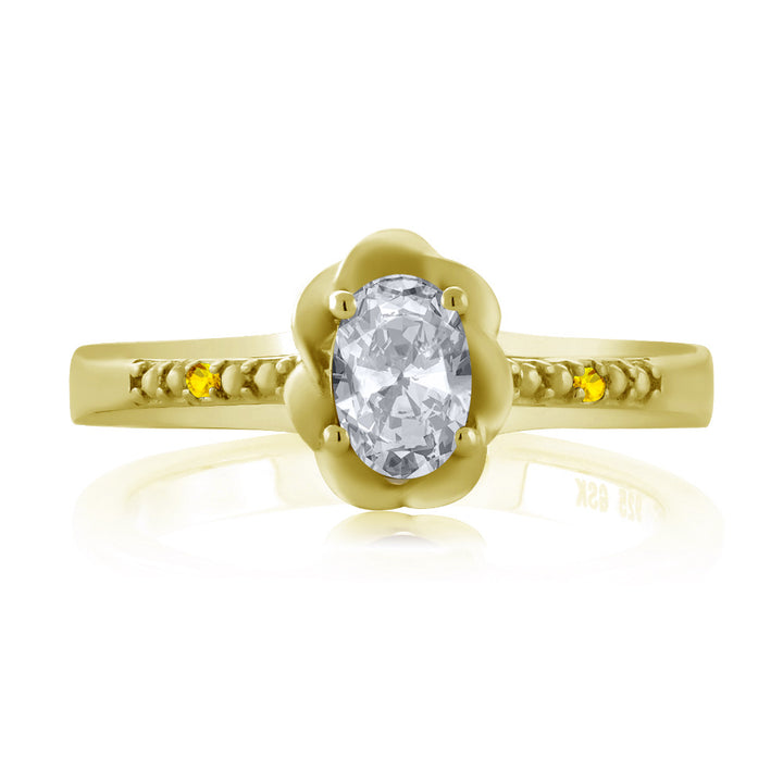 0.52 Ct Oval White Topaz Yellow Sapphire 18K Yellow Gold Plated Silver Ring