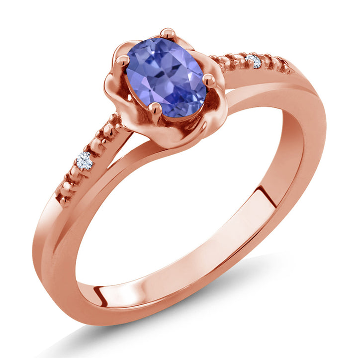 Gem Stone King 0.47 Ct Blue Tanzanite White Created Sapphire 18K Rose Gold Plated Silver Ring