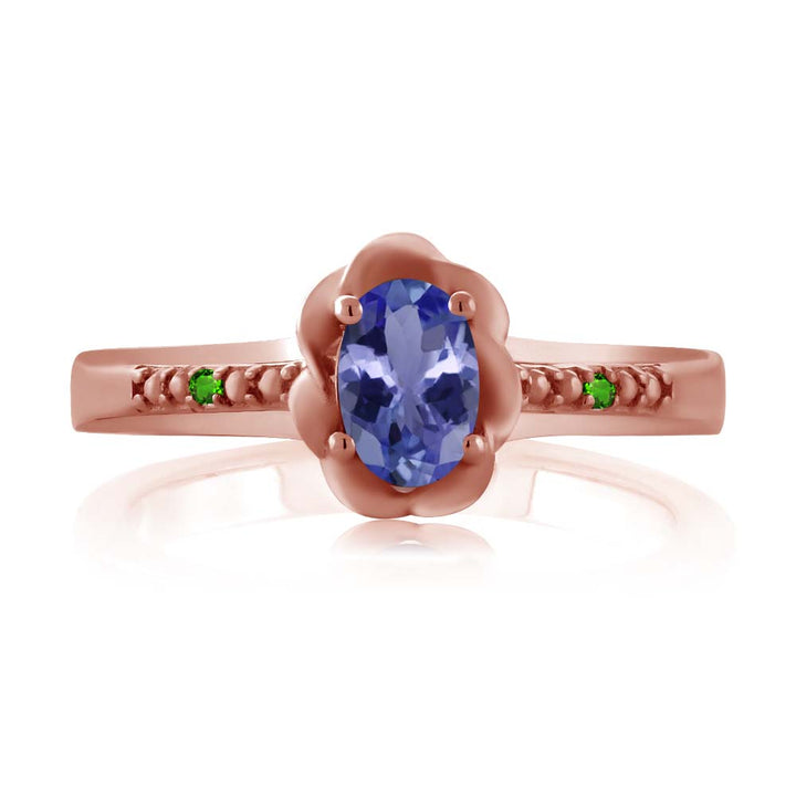 0.46 Ct Oval Blue Tanzanite Simulated Tsavorite 18K Rose Gold Plated Silver Ring