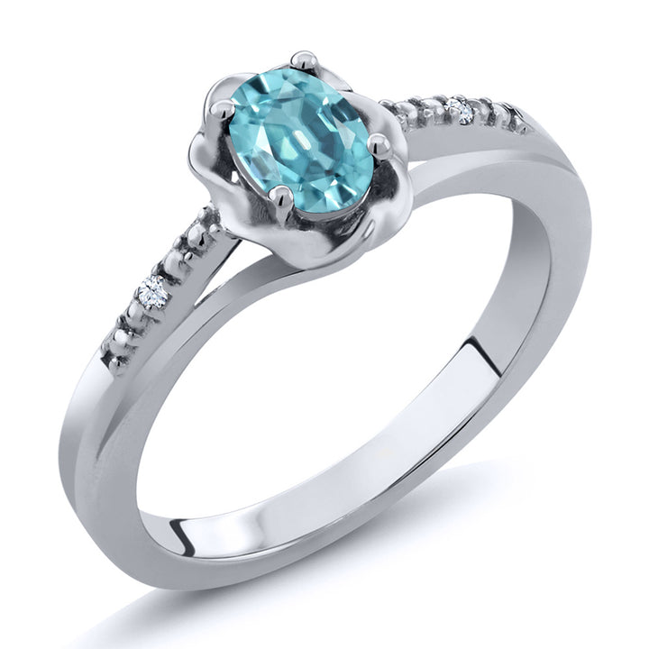 Gem Stone King 0.77 Ct Oval Blue Zircon 925 Sterling Silver Ring