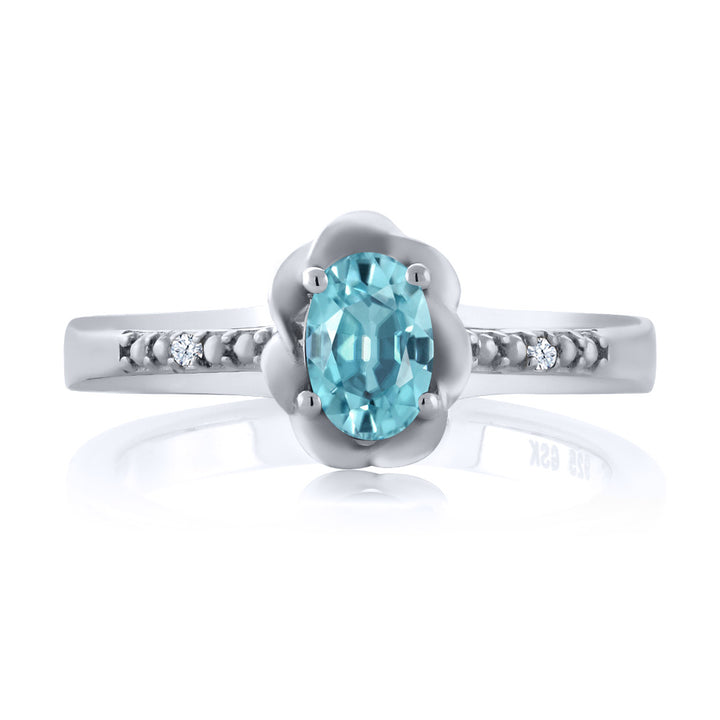 0.77 Ct Oval Blue Zircon 925 Sterling Silver Ring