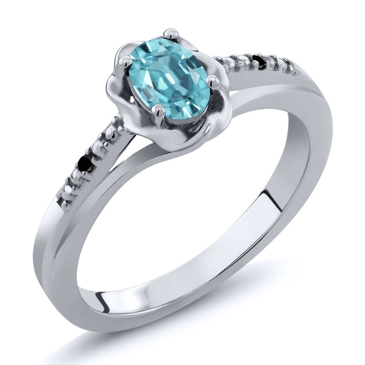 0.76 Ct Oval Blue Zircon Black Diamond 925 Sterling Silver Ring (Available 5,6,7,8,9)