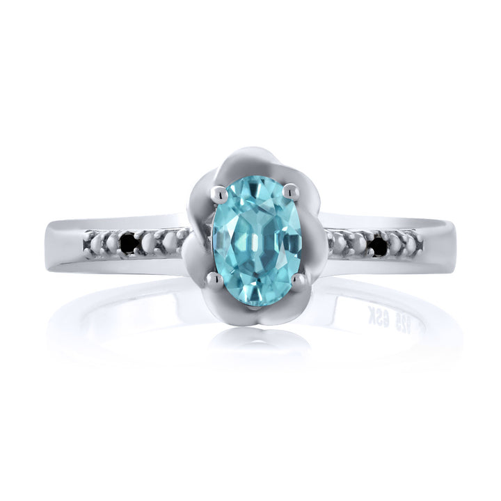 0.76 Ct Oval Blue Zircon Black Diamond 925 Sterling Silver Ring