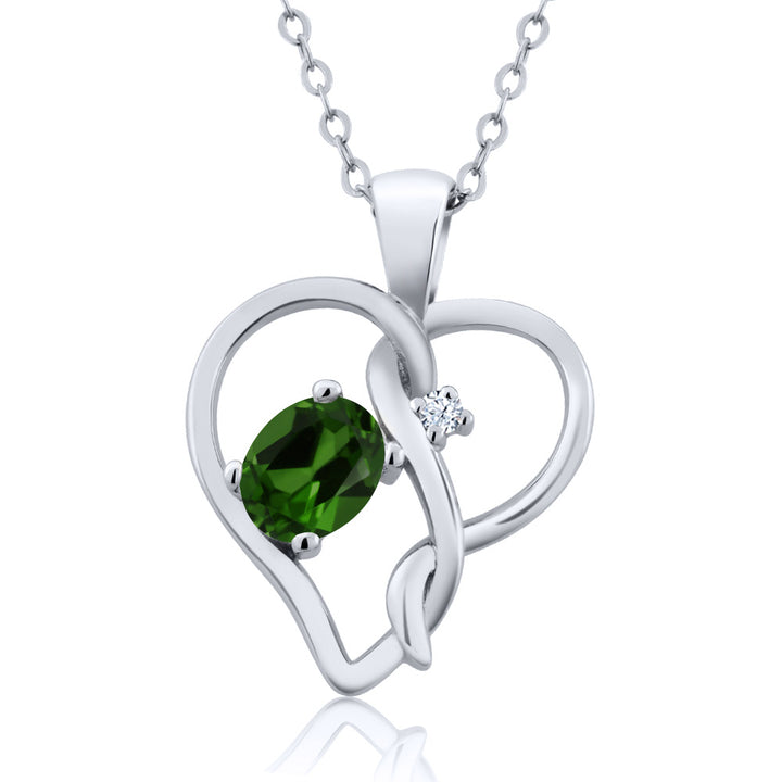 Gem Stone King 0.46 Ct Green Chrome Diopside White Created Sapphire 925 Sterling Silver Pendant