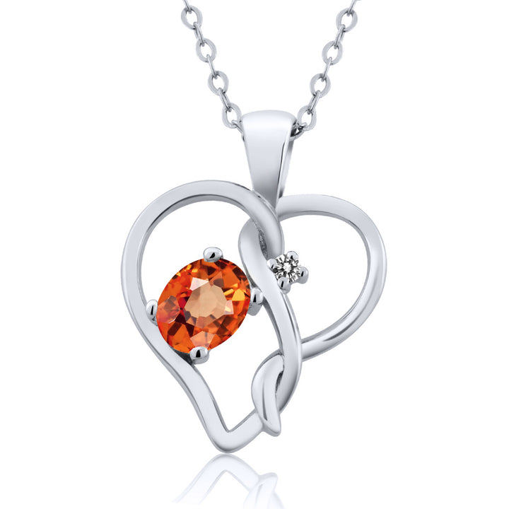 Gem Stone King 0.56 Ct Oval Orange Sapphire White Diamond 925 Sterling Silver Pendant