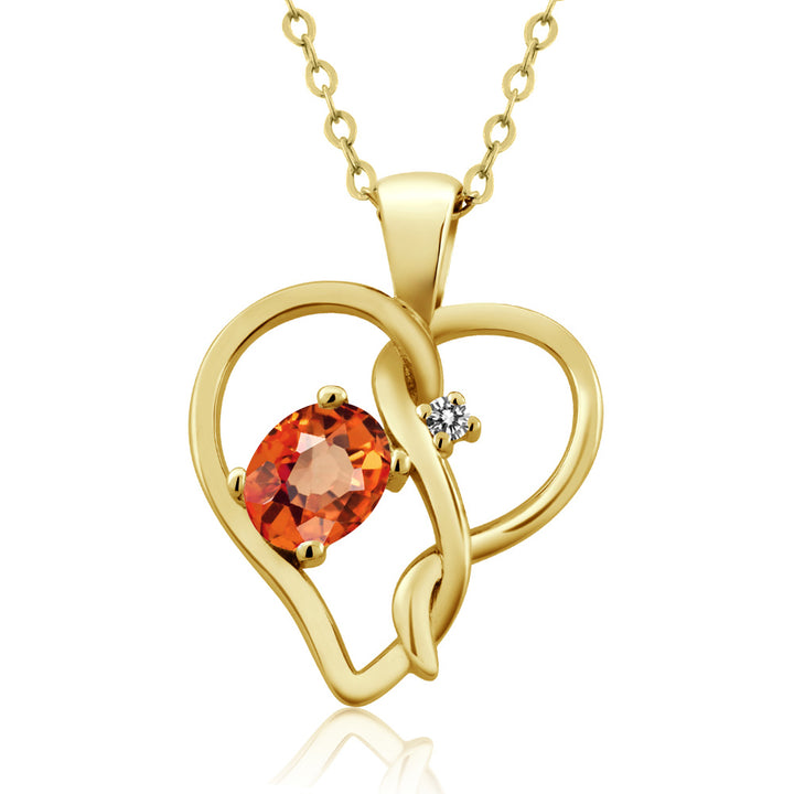 Gem Stone King 0.56 Ct Oval Orange Sapphire White Diamond 18K Yellow Gold Plated Silver Pendant