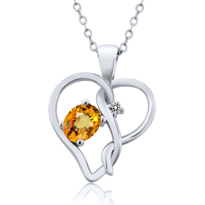 Gem Stone King 0.56 Ct Oval Yellow Sapphire White Diamond 925 Sterling Silver Pendant