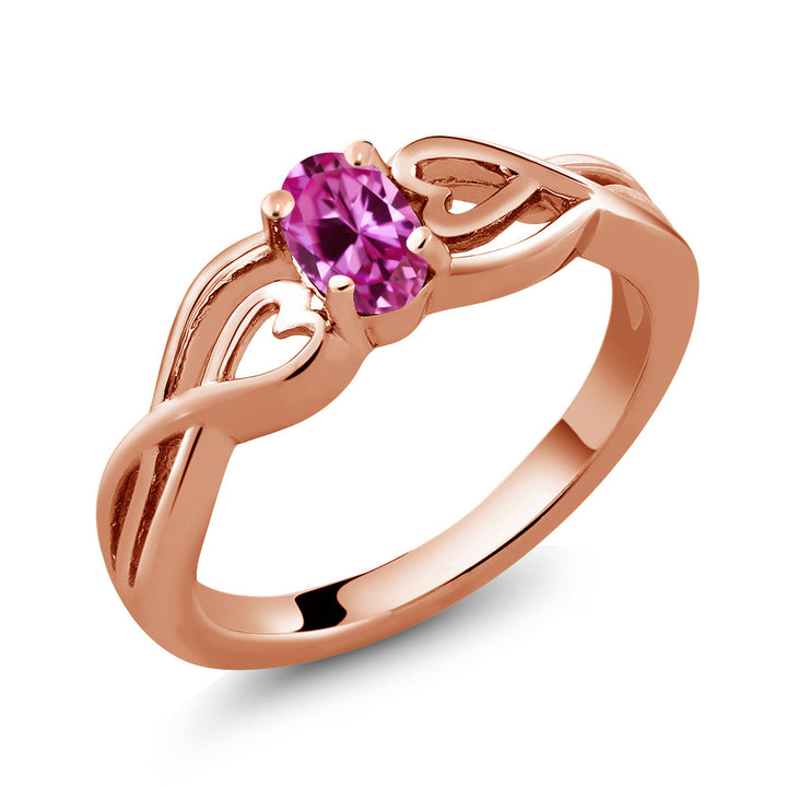 0.50 Ct Oval Pink Created Sapphire 18K Rose Gold Plated Silver Ring (Available 5,6,7,8,9)