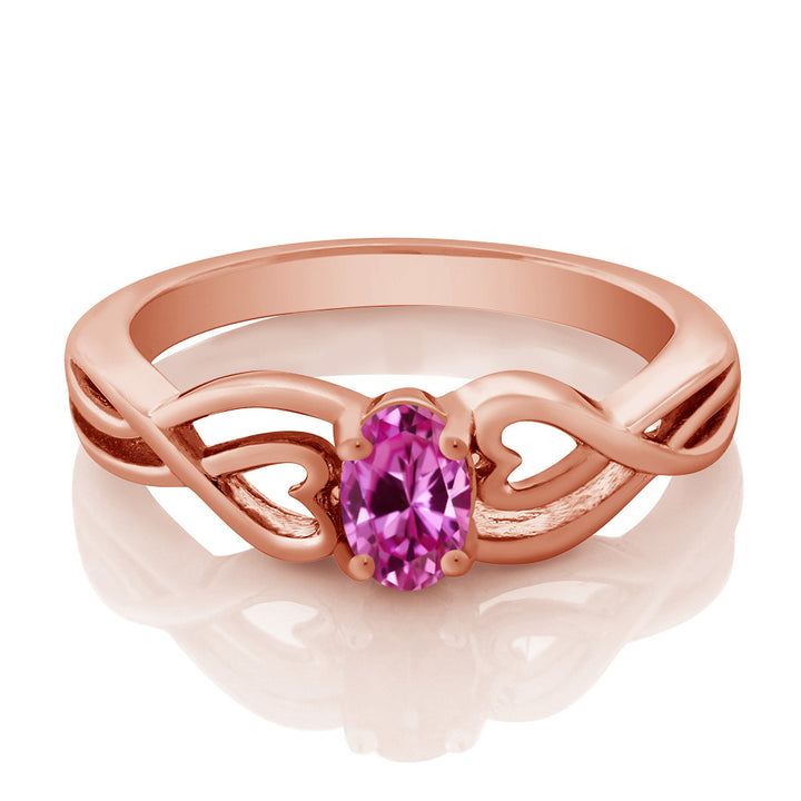 0.50 Ct Oval Pink Created Sapphire 18K Rose Gold Plated Silver Ring