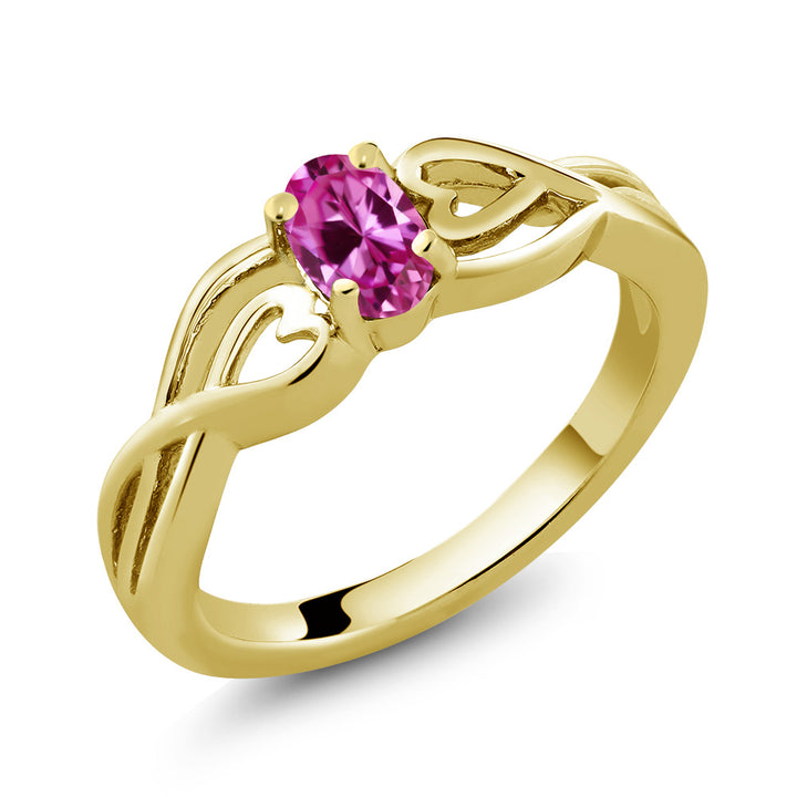 0.50 Ct Oval Pink Created Sapphire 18K Yellow Gold Plated Silver Ring (Available 5,6,7,8,9)