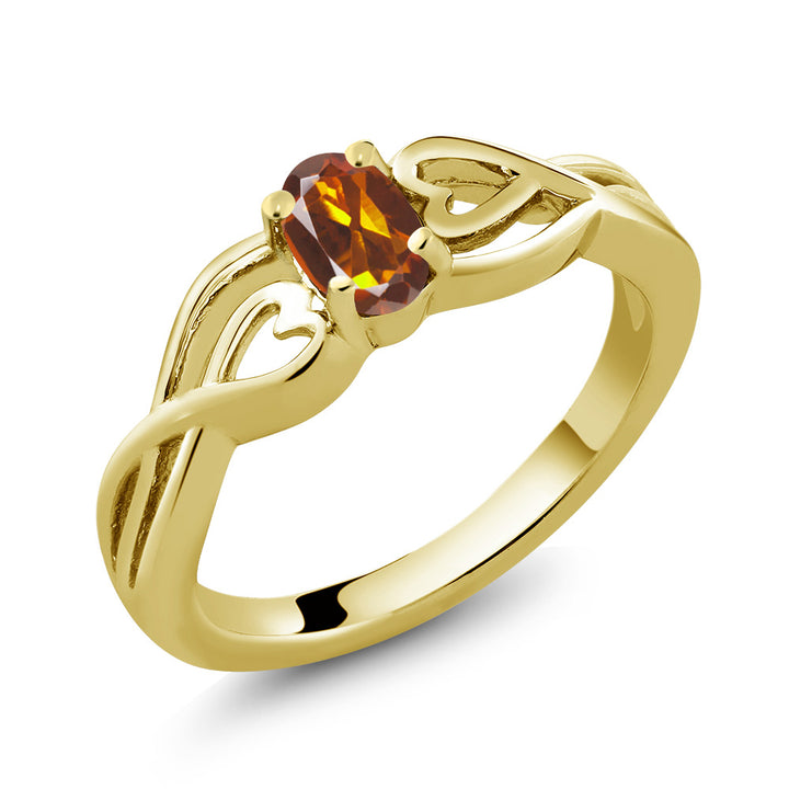 0.40 Ct Oval Orange Red Madeira Citrine 18K Yellow Gold Plated Silver Ring (Available 5,6,7,8,9)
