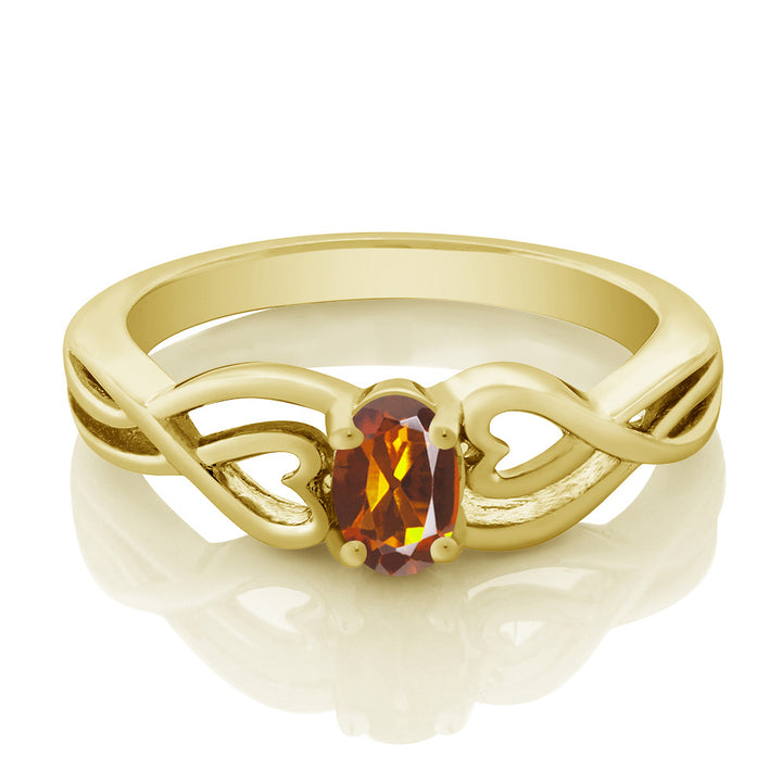 0.40 Ct Oval Orange Red Madeira Citrine 18K Yellow Gold Plated Silver Ring