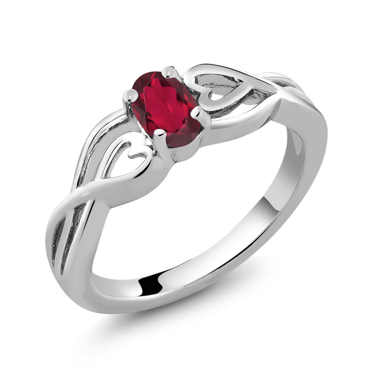 0.50 Ct Oval Red Mystic Topaz 925 Sterling Silver Ring (Available 5,6,7,8,9)